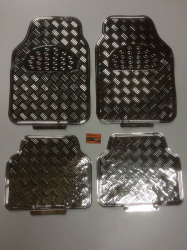 UNIVERSAL CAR MATS SILVER STYLE CHECKER PLATE